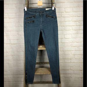 Rag & Bone Zipper Moto Skinny Jeans